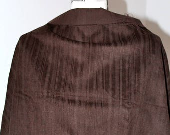 Great vintage chocolate brown striped short 138x52cm Velvet