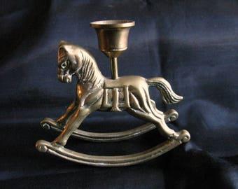 Brass Rocking Horse Candle Holder Stick