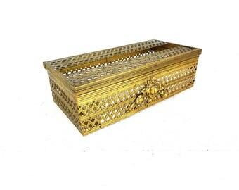 Vintage Gold Filigree Kleenex Tissue Box Cover