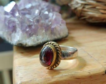 Vintage Sterling Silver Garnet Ring