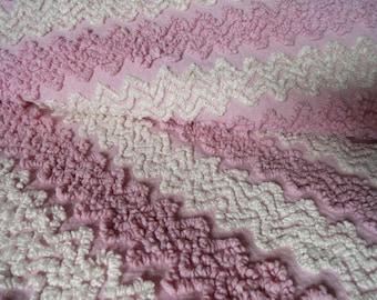 "Pink Vintage Cabin Crafts Needletuft Zigzag Chenille Bedspread Fabric piece...14 x 30"""