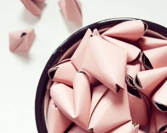 50 large dusky rose pink origami heart love messages - wedding - Free shipping - unique wedding favour - wedding decor - dusky pink