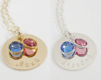Grandma Necklace with birthstones - Mommy Jewelry - Custom Necklace