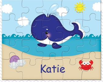 Whale Blue Personalized Puzzle, Personalized Whale Puzzle, Personalized Kids Puzzle