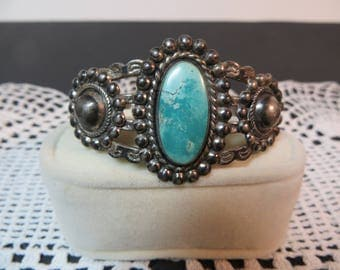 Fred Harvey Style Silver Arrow Turquoise Bracelet