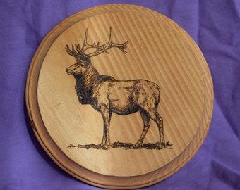 Round Elk Pyrography Art