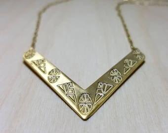 Chevron Necklace, V Necklace, Gold Chevron Necklace, Dainty Gold V Necklace, Simple V Necklace, Chevron Statement Necklace, Gold V Necklace