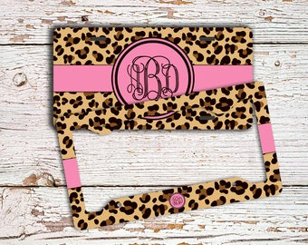 Monogrammed license plate or frame , Hot pink, leopard animal print , Gifts for teenaged daughter  (9989)