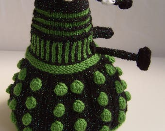 Hand Knitted Black with Green Lurex and Green Dalek