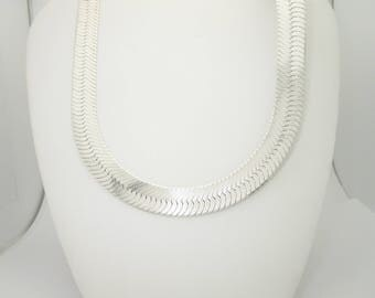 """Vintage Solid Sterling Silver Herringbone Chain 24"""" Necklace"""