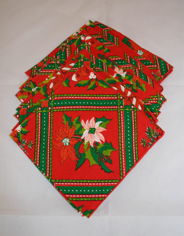 vintage 70s christmas poinsettias cloth napkins - Christmas Napkins Cloth