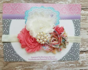 Baby Headband, Infant Headband, Newborn Headband,  Coral Headband, Fall Headband - Coral and Ivory