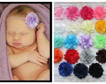 You Pick Color- Baby Headband, Infant Headband, Toddler Headband, Mini Puff Headband on skinny elastic