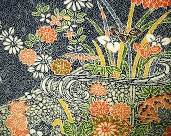 Rare Chayatsuji Vintage Japanese Edo komon silk kimono fabric