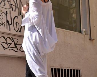 SALE White   Loose  Shirt/ Asymmetric shirt/ Oversize Summer  top A11106