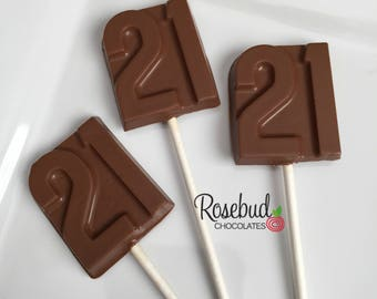 NUMBER 21 Chocolate Lollipops 21st Birthday Candy Party Favors Decor Decorations Twenty First Anniversary Dessert Table
