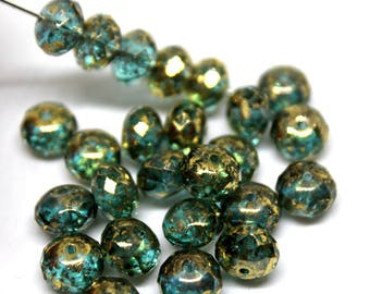 Aqua and Gold Mottled Faceted Rondelle Glass Beads