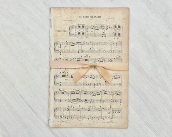 1800s Antique Music Paper Bundle, 10 French Music Sheets, Book Page Bundle, Scrapbooking Paper Ephemera from France