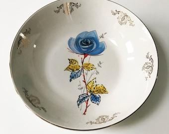 REDUCED Beautiful Vintage 1950s Porcelain Palissy Serving Bowl with Blue Rose Design