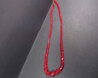 antique graduated crystal faceted red necklace