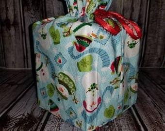 Homemade snowman design fabric tissue box cover