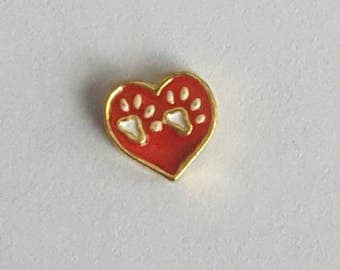 Heart Paw Print Floating Charm - Dogs Cats paw prints - Origami Owl- Living Locket