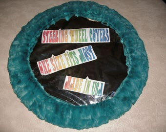 Fuzzy furry soft turquoise teal blue green steering wheel cover