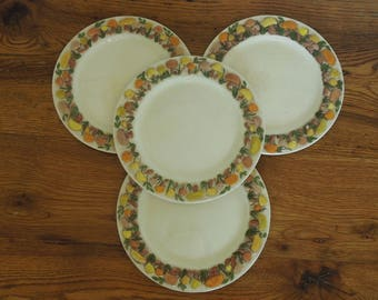 Vintage Ceramic Mushroom Plates Set of 4- 8""