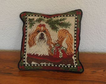 Vintage Needlepoint Pillow Christmas Shih Tzu Dog With Presents