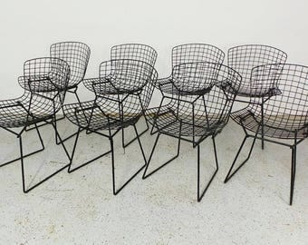 set 8 early authentic mid century modern Knoll Harry Bertoia black wire chairs with pads