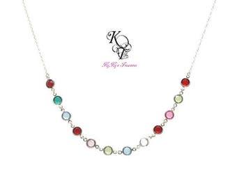 Swarovski Birthstone Necklace Mothers Necklace Birthstone Jewelry Mom Gifts Grandma Necklace Personalized Birthstone Necklace Mom Jewelry