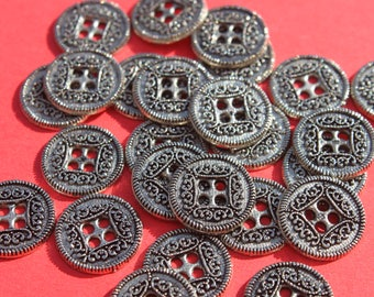 Lot of Vintage 1/2 inch Round Etched Metal Buttons, Shirt Costomer Buttons, Craft Jewelry, Lot of Buttons