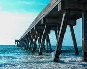 Wrightsville Beach Photo, Landscape Photography, Johnny Mercer Pier, North Carolina, Ocean, Beach, Coastal Art, Wall Art, 8x10, 11x14