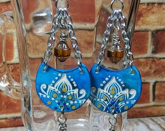 Blue Lotus Polymer Clay Drop Earrings Mandala Bohemian Dangle Earwires New Age Gypsy Hippie Boho Chic Birthday Gifts for Her BJGE02