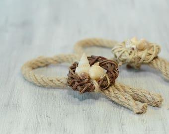 Nautical Rope Knot Boutonniere Beach Wedding Boutonniere Seashells Grooms Groomsmen Accessory for Groom Sea Shell Destination Wedding rustic