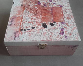 Provisional booking 4 compartments decorated copper purple white abstract theme square wooden tea box