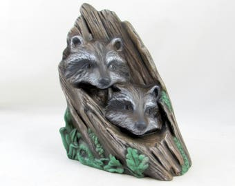 Ready to Ship - Ceramic Raccoon Driftwood Style Sculpture, hand painted - 8.5 inches, indoor or outdoor, lawn and garden