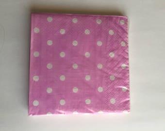 Pink retro polka dot pattern paper 20 napkins