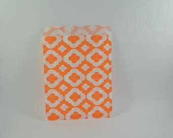 orange 8 arabesque pattern paper bags