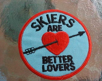 1960-70s SKIERS are BETTER LOVERS Vintage Patch Scarce Retro Original Collectible Sewn On Only Arrow Heart Snow Ski Skiing Winter Sports
