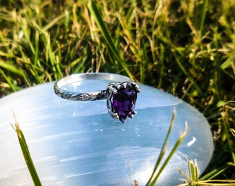 African amethyst sterling silver ring, size 6.75 - in stock