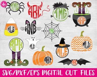 Halloween Monograms, SVG, DXF, EPS, Cut Files, Pumpkin, Witch, Spider, Frankenstein, Bat, Cat, Candy Corn, Vinyl, Silhouette, Cricut