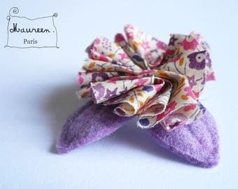 liverty pink and purple flower brooch flower hair clip
