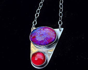 Orbit. Sterling silver pendant with beautiful glass Mexican fire opal and vintage red cabochons.
