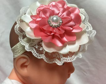 White lace and ribbon stretch Hairband for baby