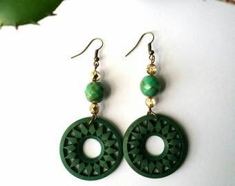 Bead Earrings, Green Picasso Beads, Wood Earrings
