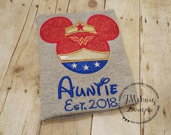 Wonder Woman Mouse Custom embroidered Disney Inspired Vacation Shirts for the Family! 3c