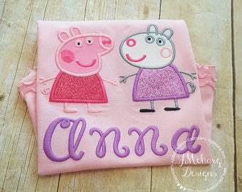 Peppa Pig & Suzy Sheep Shirt - Embroidered Shirt - Customizable -  Infant to Youth 340 no number