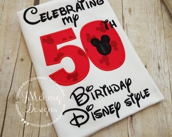 Disney-Inspired Birthday Shirt - 50th - Custom Birthday Tee 802c black red boy 50