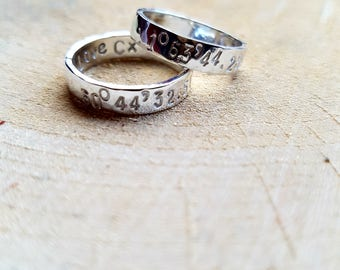 Coordinates Couple Ring, Couple Ring, Sterling Silver Ring, Matching Coordinates